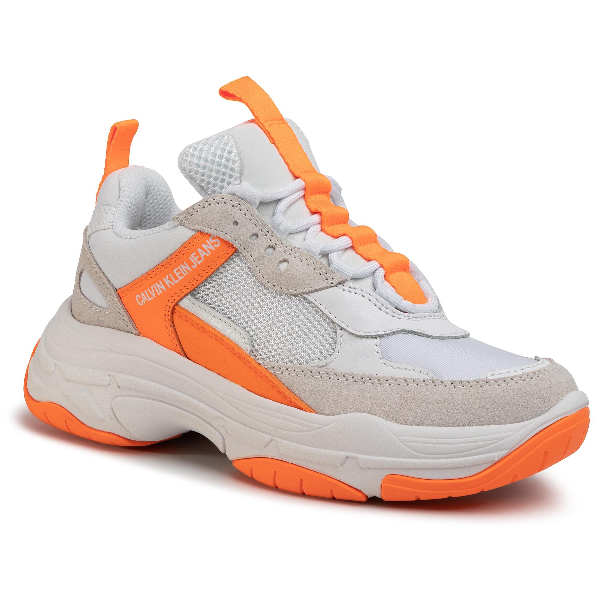 Sneakers CALVIN KLEIN JEANS - Maya R0802 White/Orange Fluo