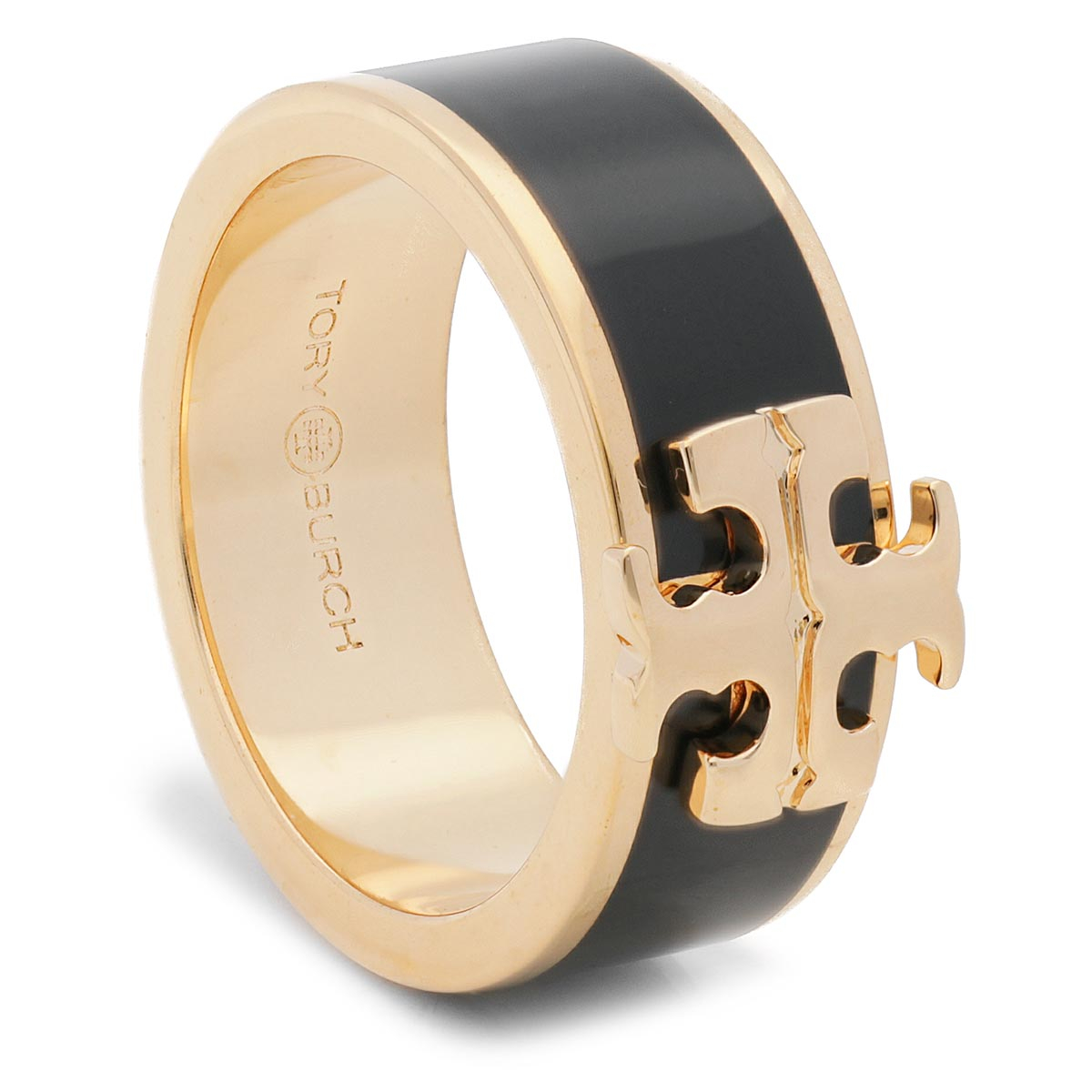 Image of Anello TORY BURCH - Kira Logo Ring 60359 Tory Gold/Black 720