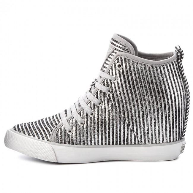 GUESS SCARPE DONNA Sneaker Zeppa Jilly Glitter Silver
