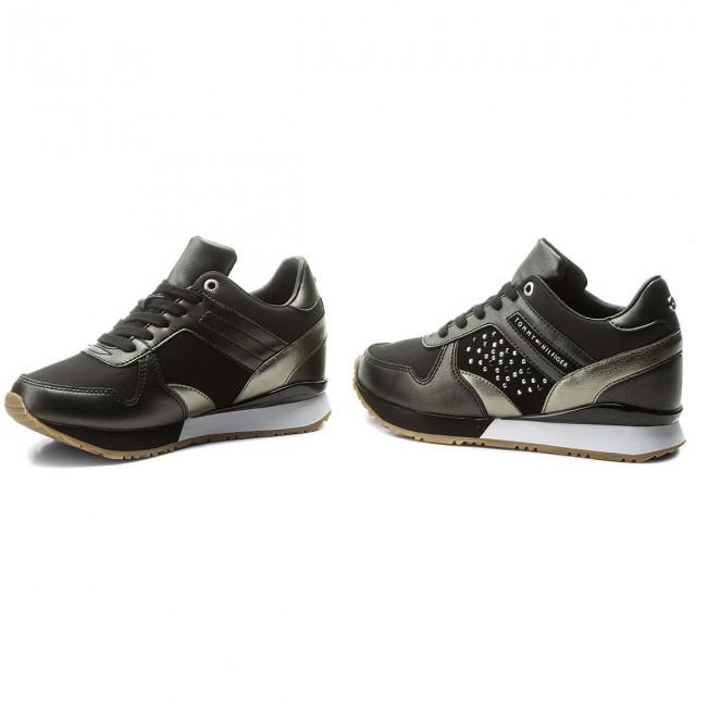 Sneakers TOMMY HILFIGER - Metallic Sneaker Wedge FW0FW02802 Black ... 9cb2844f9d