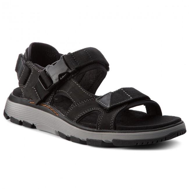 Clarks Un Trek BAR Nero Nubuck da uomo sandali