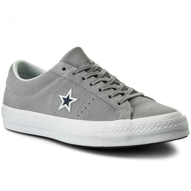 Converse One Star Ox Uomo Green White Canvas e Scamosciato Scarpe da Ginnastica