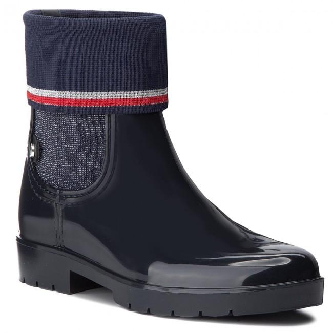 Wellington TOMMY HILFIGER - Knitted Sock Rain Bo FW0FW03565 Midnight ... c6165be0299