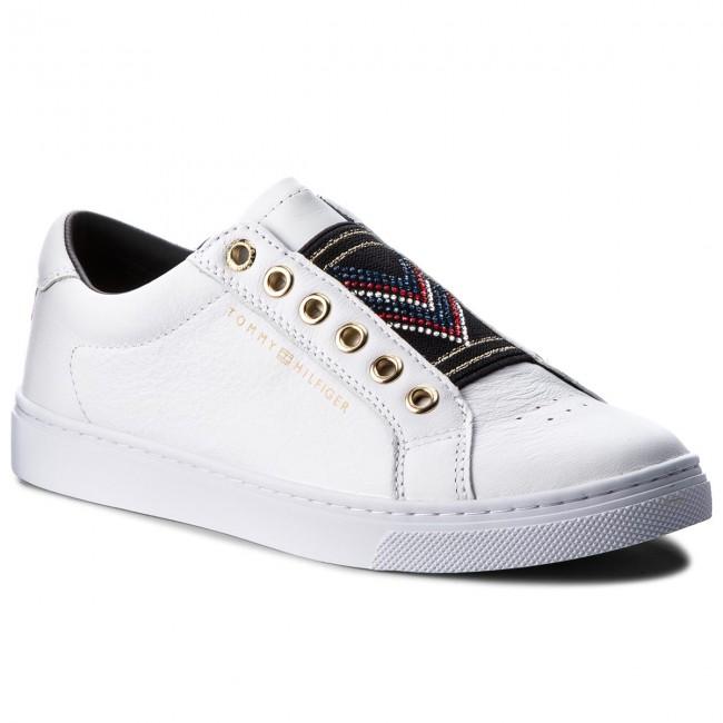 Sneakers TOMMY HILFIGER - Stud Elastic Essential Sneaker FW0FW03592 White  100 c2845df11d9