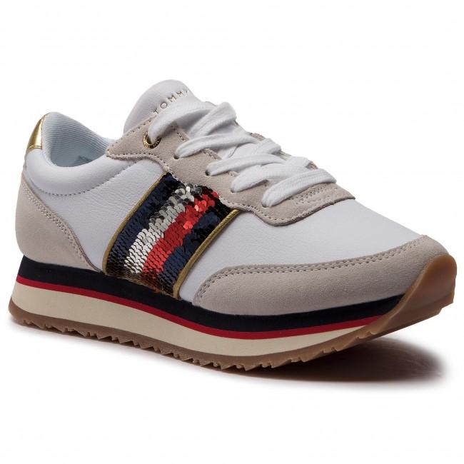 scarpe da ginnastica TOMMY HILFIGER - Sequins Retro Runner FW0FW03703 bianca 100 - scarpe da ginnastica - Scarpe basse - Donna | Italia  | Uomo/Donne Scarpa