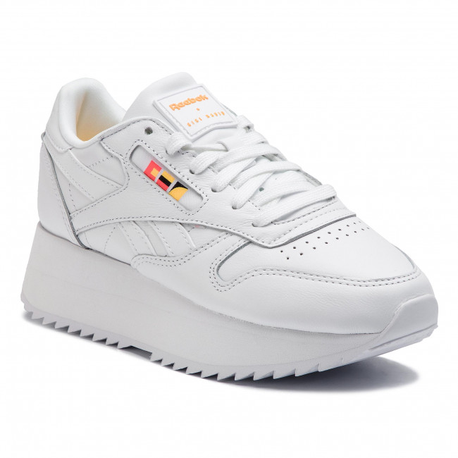Scarpe Reebok - Cl Lthr Double DV5391 bianca Neon rosso nero oro - scarpe da ginnastica - Scarpe basse - Donna | qualità regina  | Uomo/Donna Scarpa