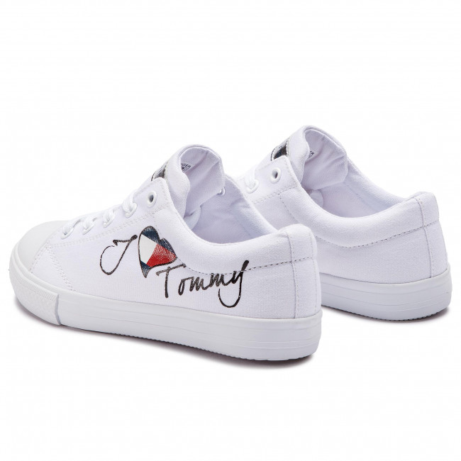 Scarpe da ginnastica TOMMY HILFIGER Low Cut Lace Up Sneaker T3A4 30260 0616 D White 100