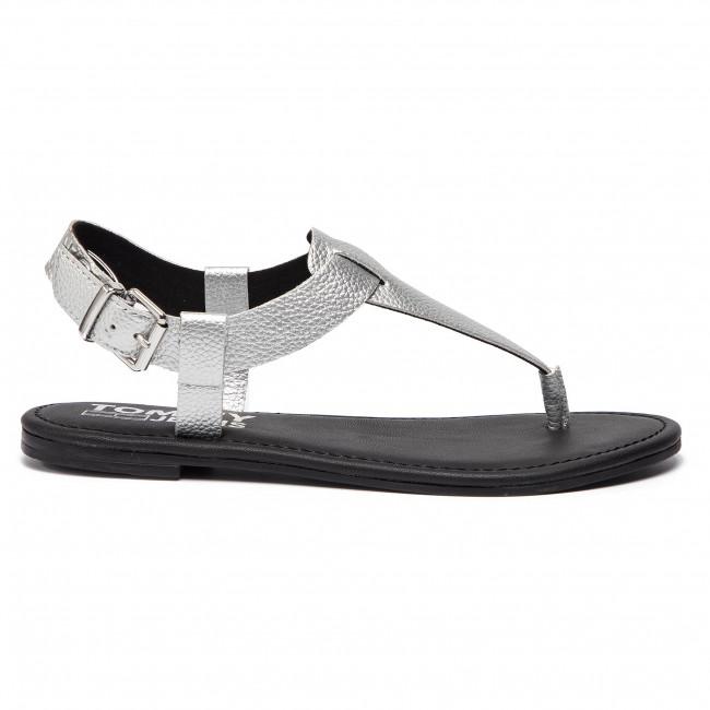 Shiny En0en00566 Silver Jeans Sandal Metallic Tommy Sandali Flat 81Ewwq