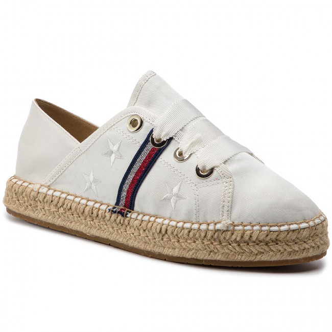 Espadrillas TOMMY HILFIGER - Flat Espadrille Corporate Ribbon FW0FW03801 Whisper bianca 121 - Espadrillas - Scarpe basse - Donna | In Linea Outlet Store