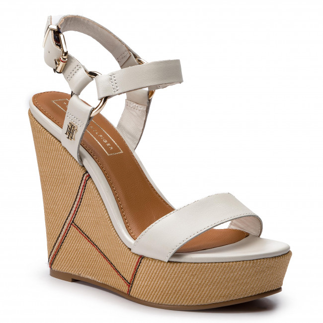 Sandali TOMMY HILFIGER - Elevated Leather Wedge Sandal FW0FW03943 Whisper bianca 121 - Zeppe - Ciabatte e sandali - Donna | Qualità Stabile