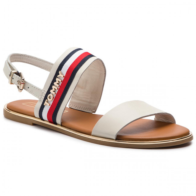 Sandali TOMMY HILFIGER - Flat Sandal Corporate Ribbon FW0FW04049 Whisper bianca 121 - Sandali da giorno - Sandali - Ciabatte e sandali - Donna   vendita all'asta    Uomo/Donna Scarpa