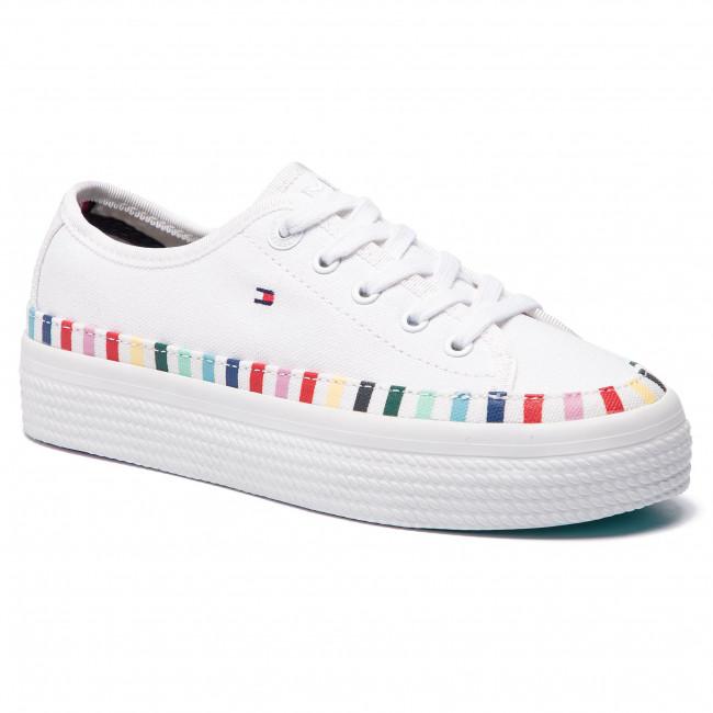 Scarpe sportive TOMMY HILFIGER - Rainbow Flatform Sneaker FW0FW04069 White  100 83ec1918023
