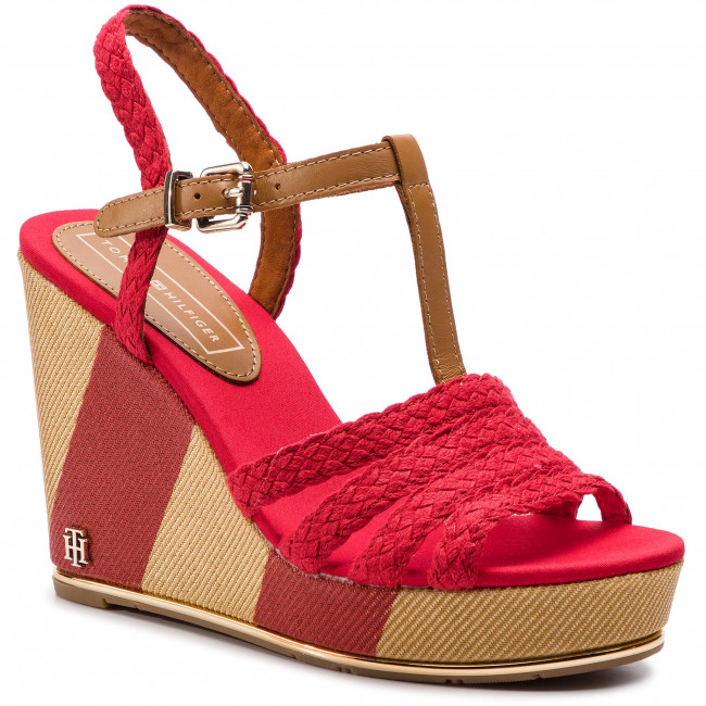 Espadrillas TOMMY HILFIGER - Printed Wedge Sandal FW0FW03934 Tango rosso 611 - Espadrillas - Ciabatte e sandali - Donna | Outlet Online Store