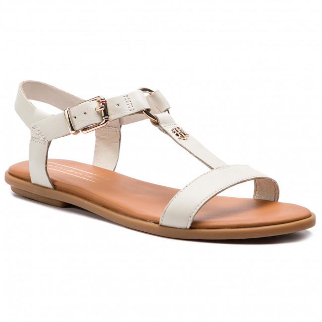 Sandali TOMMY HILFIGER - Elevated Leather Flat Sandal FW0FW03946 Whisper bianca 121 - Sandali da giorno - Sandali - Ciabatte e sandali - Donna | Essere Nuovo Nel Design  | Uomo/Donna Scarpa