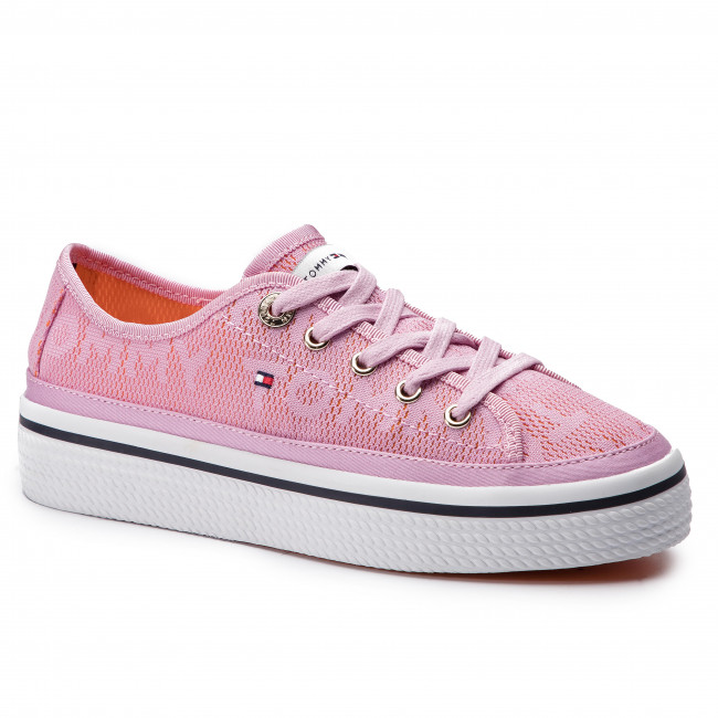 Scarpe sportive TOMMY HILFIGER - Jacquard Flatform Sneaker FW0FW04071 Pink  Lavender 518 955d75bf407