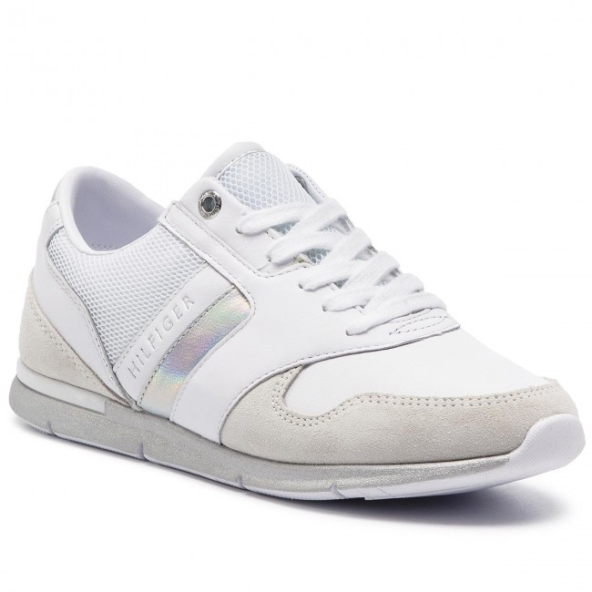 Sneakers TOMMY HILFIGER - Iridescent Light Sneaker FW0FW04100 White Silver  902 771faeb35c9