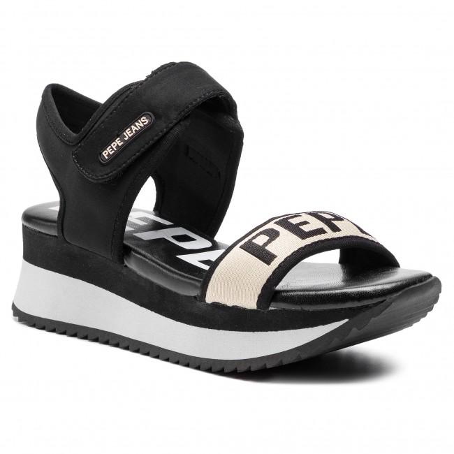 Sandali PEPE JEANS - Fuji Mania PLS90394 nero 999 - Sandali da giorno - Sandali - Ciabatte e sandali - Donna | finitura  | Gentiluomo/Signora Scarpa
