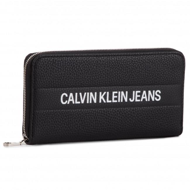 c155b1420d8ba Portafoglio grande da donna CALVIN KLEIN JEANS - Logo Banner Large Ziparound  K40K400840 001