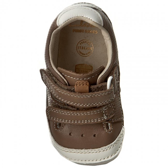 Clarks Basse Leather Strappi Boy 261240246 Mushroom Bambino Scarpe A Tiny cj3Rq45LA