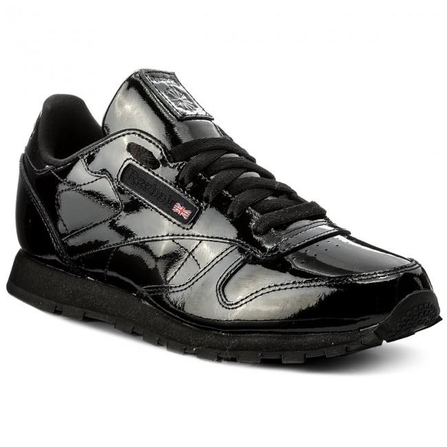 Leather Classic Sneakers Cn2061 Scarpe Reebok Patent Black Basse Donna c5ARjLq34