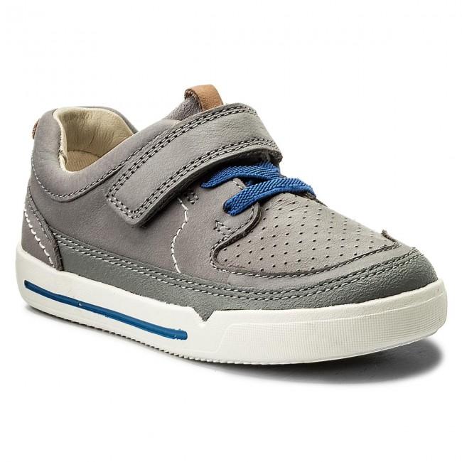 Basse Mini 261334446 Leather Oasis Clarks Grey Con Scarpe Strappi Bambino Bambina qzSUMpV