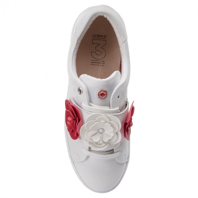 White Basse Sneakers Nobrand Cherry Donna 13609 white Scarpe red H9W2EYIeD