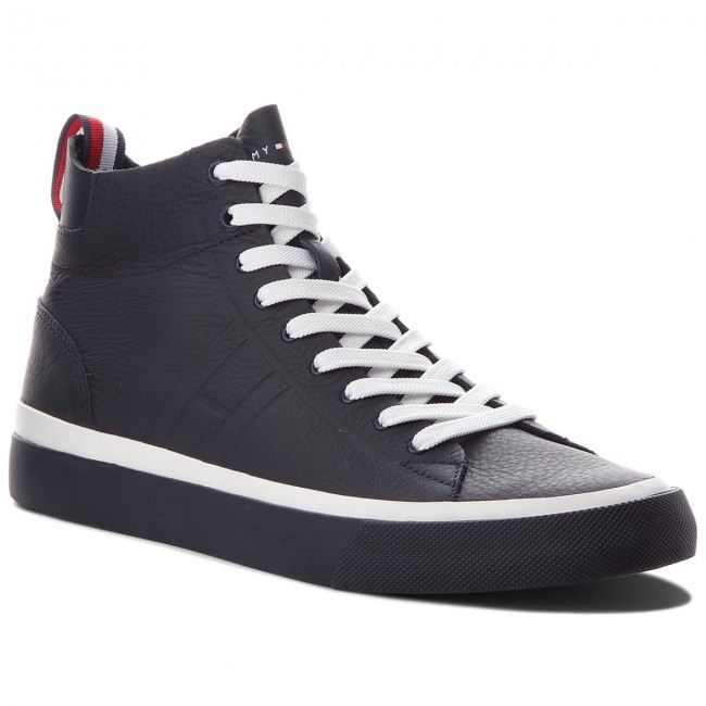 Sneakers TOMMY HILFIGER Unlined Mid Cut Leather Sneaker FM0FM01626 Midnight 403
