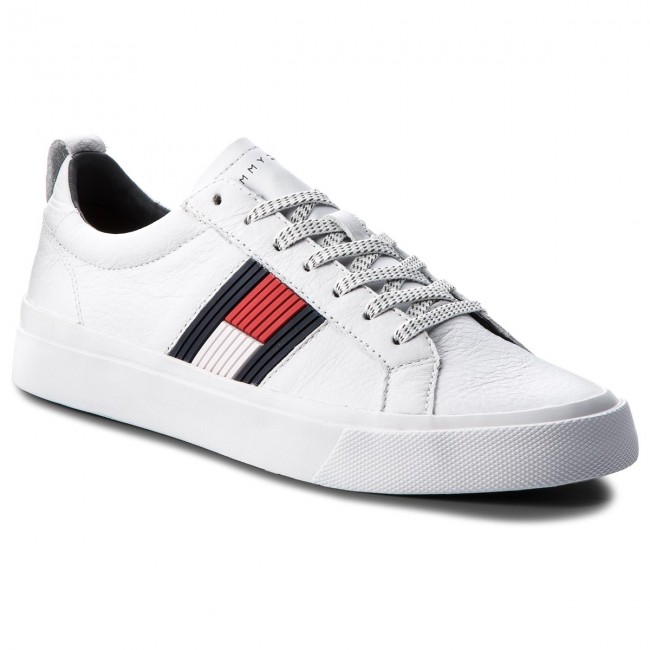Sneakers TOMMY HILFIGER Flag Detail Leather Sneaker FM0FM01712 White 100
