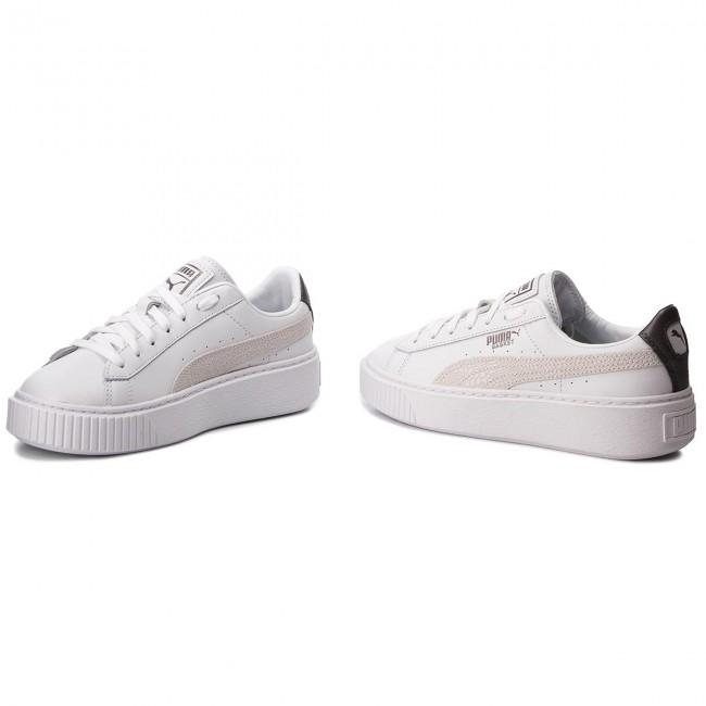 Sneakers PUMA Basket Platform Euphoria Metal 367850 01 Puma WhitePuma Aged Silver