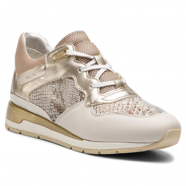 Sneakers GEOX D Shahira B D62N1B 041NF C1Q2L Off WhiteLt Gold