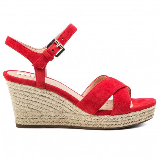 Sandali donna con zeppa rosso Geox Soleil D92N7A 00021 C7452