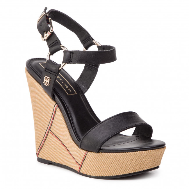 outlet store ceb21 33747 Sandali TOMMY HILFIGER - Elevated Leather Wedge Sandal FW0FW03943 Black 990