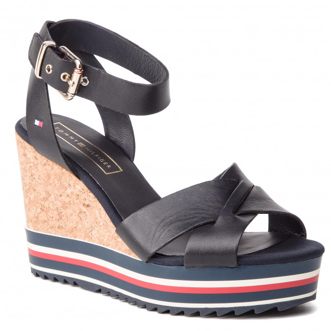 brand new 244bb 84a26 Sandali TOMMY HILFIGER - Colored Stripes Wedge Sandal FW0FW04054 Midnight  403