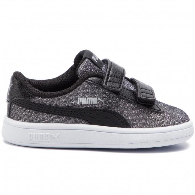 Sneakers Basse V 367380 puma Bambina Glitz Strappi 05 Con Black Inf Puma Glam Silver Scarpe Bambino V2 Smash nOPk8wX0