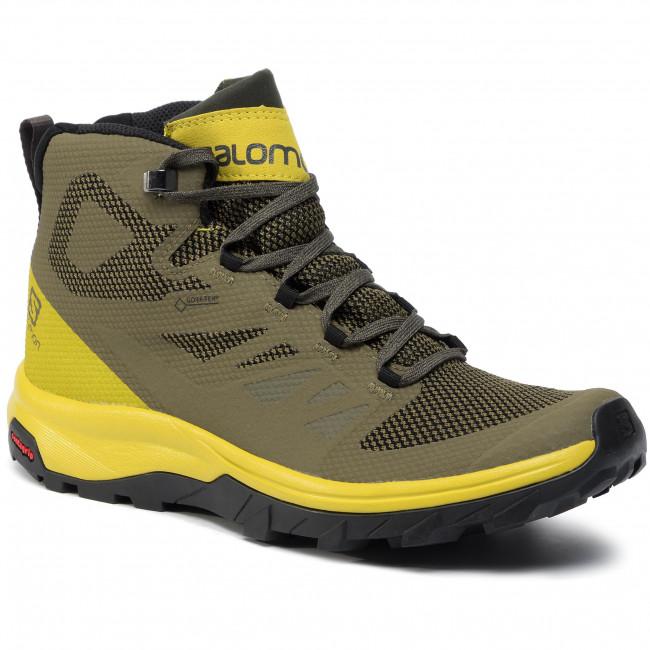 Scarpe da trekking SALOMON Outline Mid Gtx GORE TEX 406793 28 V0 Burnt OliveCitronelleBeluga