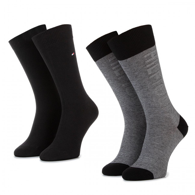 migliore vendita completo nelle specifiche store Set di 2 paia di calzini lunghi da uomo TOMMY HILFIGER - 492011001 Black 200
