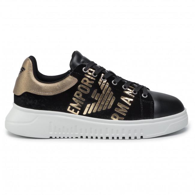 Emporio Basse Sneakers lam Uomo Scarpe Xm042 Armani X4x264 R332 Black black gold PkXZiu