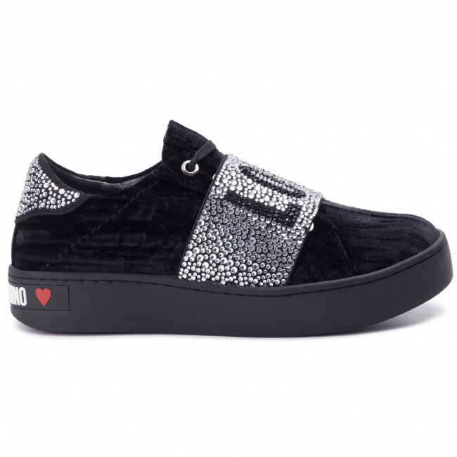 Sneakers Love Velluto Ja15123g18ik0000 Nero Moschino Basse Scarpe Donna zqSVpUM