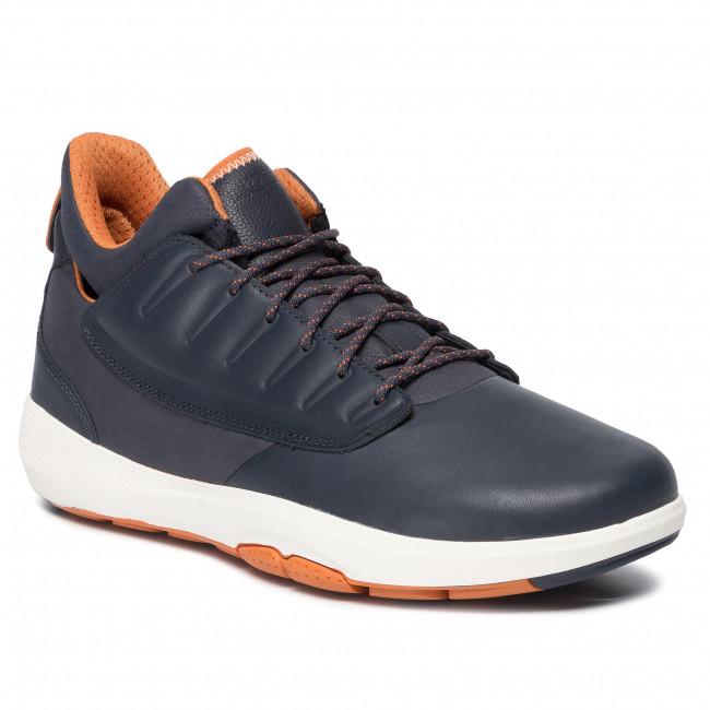 Geox Uomo Lacci Scarpe Navy Rete Pelle Tessuto Sneakers