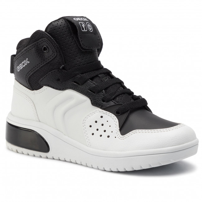 GEOX Xled B. scarpa sportiva bambino bianconero