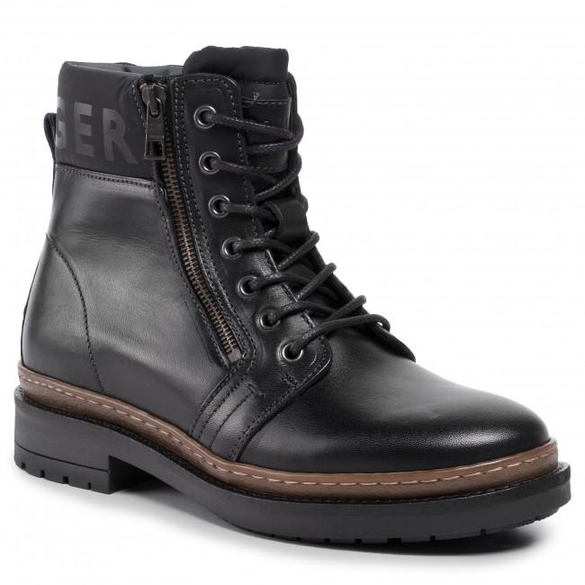 nuova collezione 2b2d6 6fb7e Stivali TOMMY HILFIGER - Textured Leather Mix Boot FM0FM02418 Black 990