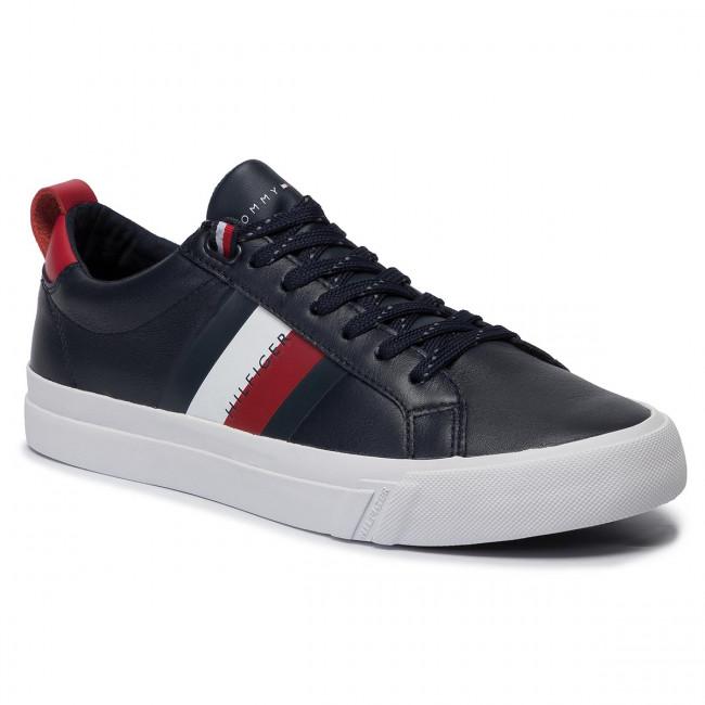 Sneakers TOMMY HILFIGER Flag Detail Leather Sneaker FM0FM02576 Midnight CJM