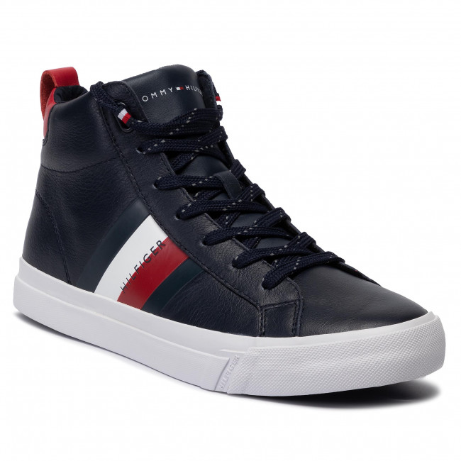Sneakers TOMMY HILFIGER Flag Detail Leather Sneaker High FM0FM02371 Midnight 403