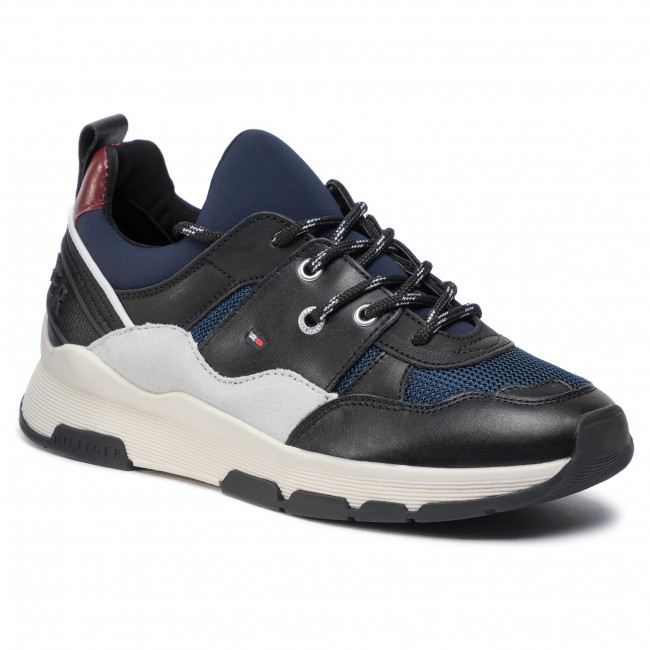 Tommy hilfiger tommy dress city sneaker fw0fw04604 escarpe.it grigio pelle