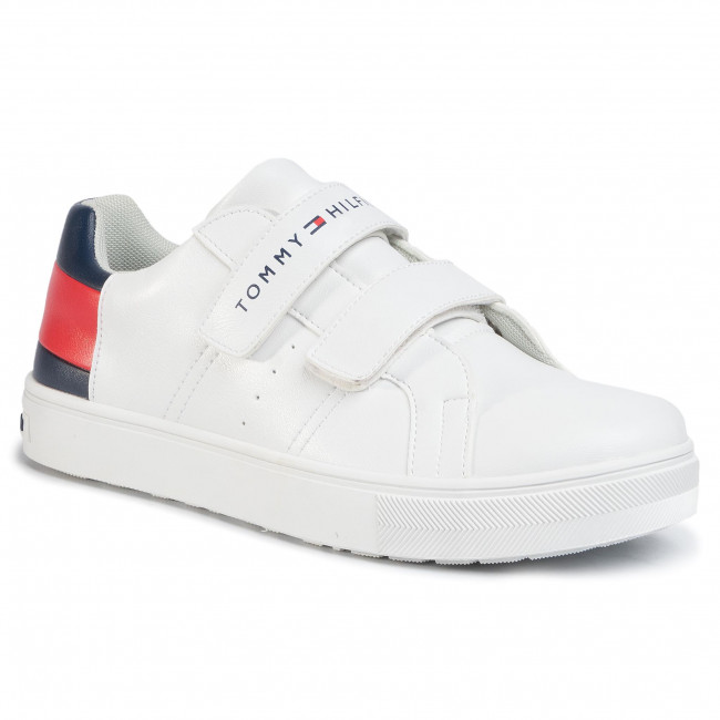 Sneakers TOMMY HILFIGER - Low Cut Velcro Sneaker T3B4-30719-0193 D White/Blue/Red Y003