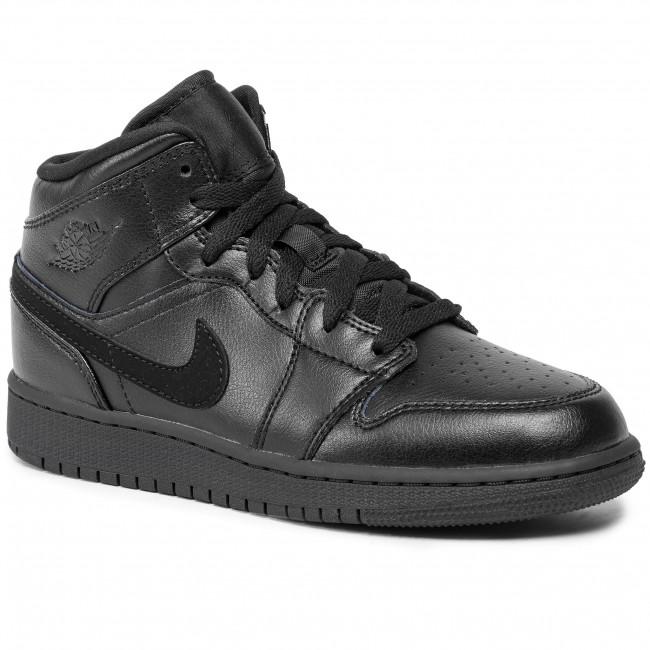 Scarpe NIKE Air Jordan 1 Mid (Gs) 554725 090 BlackBlackBlack