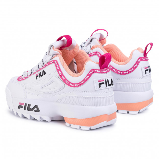 Sneakers FILA - Disruptor Logo Jr 1010851.92U White/Beetroot Purple - Stringate - Scarpe basse - Bambina - Bambino