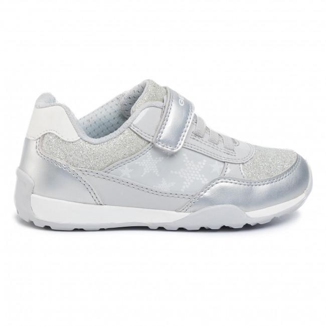 Geox J Jocker Plus J02AUB Sneakers Bambina Strappo e Lacci Elastici Argento