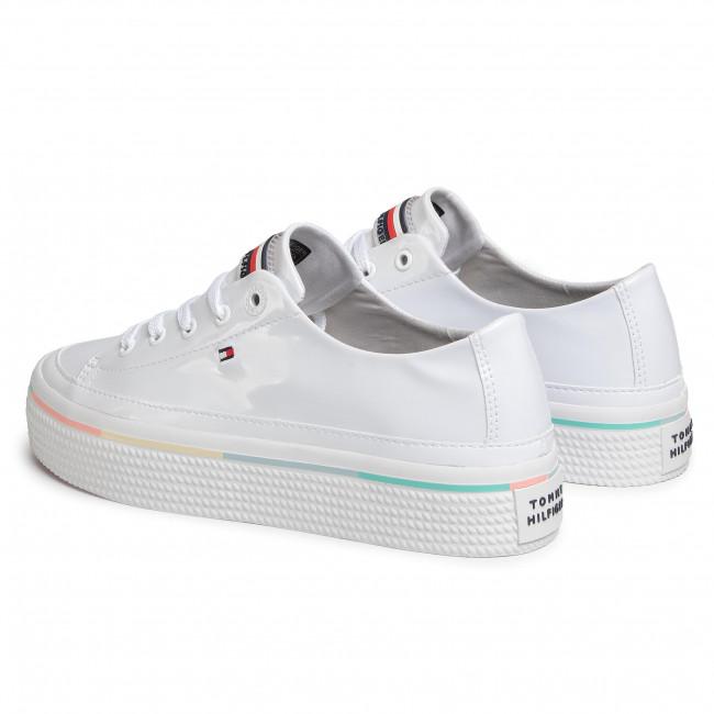 Scarpe sportive TOMMY HILFIGER Striped Platform Sneaker FW0FW04710 White YBS