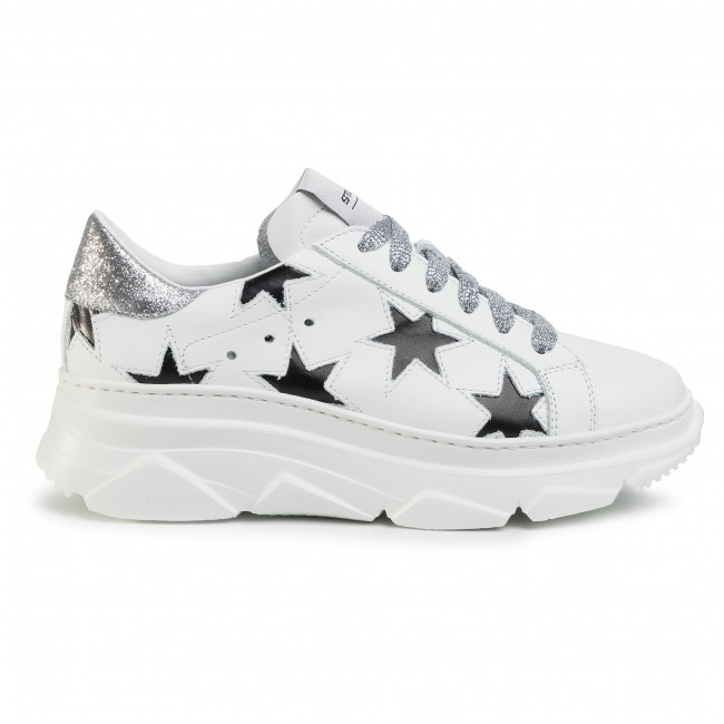 Sneakers STOKTON - 352-D-SS20-UP Vitello Bianco/Glitter Argento - Sneakers - Scarpe basse - Donna